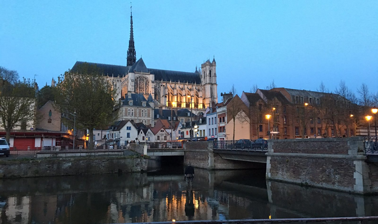 Evening shot of Amiens Cathedral