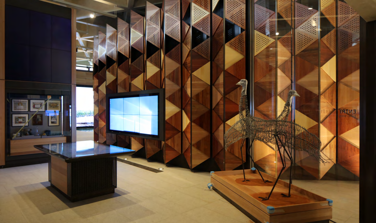 Sir John Monash Centre emu sculptures and chevron wall - internal